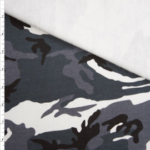 Black, White, and Grey Camouflage Sweatshirt Fleece Fabric By The Yard