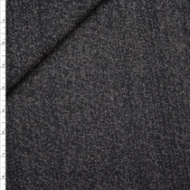 Black and Grey Melange Lightweight Sweatshirt Fleece Fabric By The Yard