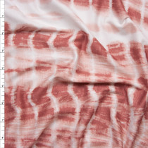 Rose and White Grunge Tie Dye Stretch Rayon Jersey Knit Fabric By The Yard