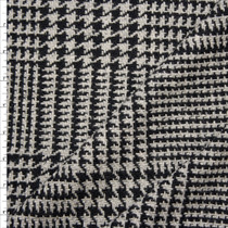 Grey and Black Houndstooth Plaid Wool Coating Fabric By The Yard