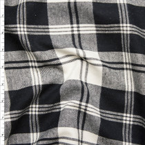 Black and White Plaid Flannel Fabric By The Yard