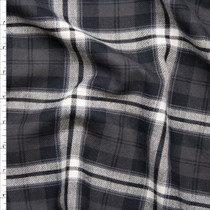Charcoal, Black, and White Plaid Flannel Fabric By The Yard
