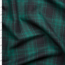 Green and Black Plaid Flannel  Fabric By The Yard