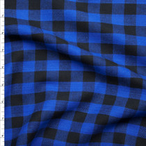 Black and Blue Buffalo Plaid Flannel Fabric By The Yard