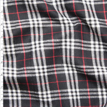 Black, White, and Red Plaid Flannel Fabric By The Yard