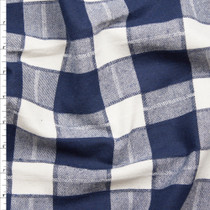 Offwhite and Navy Blue Plaid Flannel Fabric By The Yard