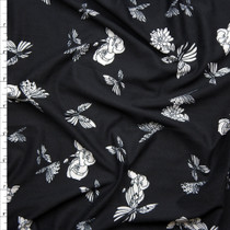 Flowers and Butterflies on Black Double Brushed Poly Spandex Fabric By The Yard
