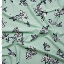 Flowers and Butterflies on Mint Green Double Brushed Poly Spandex Fabric By The Yard