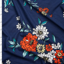 Red, White, and Yellow Flowers on Navy Blue Double Brushed Poly Spandex Print Fabric By The Yard