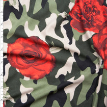 Red Roses on Classic Camouflage Double Brushed Poly Spandex Fabric By The Yard
