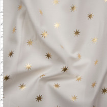Metallic Gold Stars on Offwhite Stretch Twill from '7 for All Mankind' Fabric By The Yard