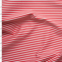 Red and White Narrow Striped Stretch Cotton Twill from '7 for All Mankind' Fabric By The Yard