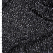 Black and Grey Mottled Ribbed Sweater Knit Fabric By The Yard