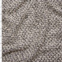 Black and Offwhite Mottled Open Weave Sweater Knit Fabric By The Yard