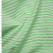 Neon Green and White Mini Stripe Midweight Seersucker Fabric By The Yard