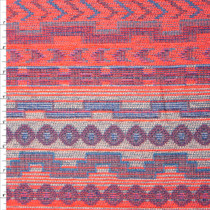 Neon Orange and Blue Heavyweight Novelty Jaquard Fabric By The Yard