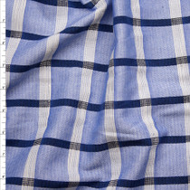 "Blue and White Windowpane Plaid Designer Rayon/Linen from ""Milly"" Fabric By The Yard"