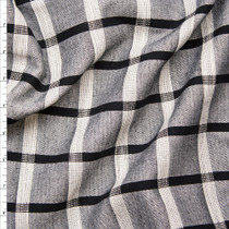 "Black, Grey, and White Windowpane Plaid Designer Rayon/Linen from ""Milly"" Fabric By The Yard"