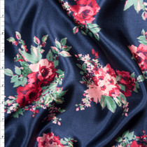 Pink and Green Rose Floral on Navy Blue Shantung Satin Fabric By The Yard