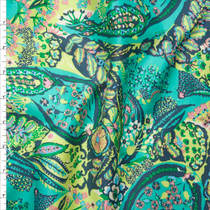 Turquoise and Lime Amy Butler 'Jolie' Glow Sateen  Fabric By The Yard