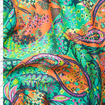 Turquoise and Orange Amy Butler 'Jolie' Glow Sateen  Fabric By The Yard