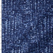 Indigo and White Grunge Print Cotton Boucle by Robert Kaufman Fabric By The Yard