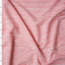 Pink and Offwhite Lined Stretch French Terry Fabric By The Yard