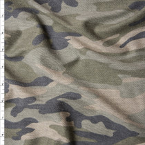 Soft Heather Classic Camouflage on Light Grey French Terry Fabric By The Yard