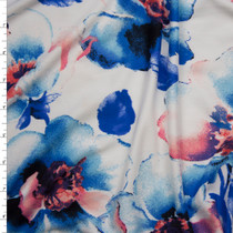 Blue and Soft Pink Watercolor Floral on White Double Brushed Poly Spandex Fabric By The Yard