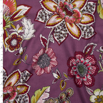 Colorful Ornate Floral on Dusty Lilac Double Brushed Poly Spandex Fabric By The Yard