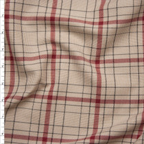 Tan, and Wine Plaid Stretch Midweight Suiting from 'Ralph Lauren' Fabric By The Yard