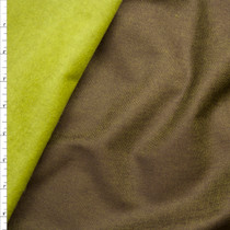 Bright Avocado and Dark Olive Reversible Flannel Backed Poly/Rayon Denim Look from 'Ralph Lauren' Fabric By The Yard