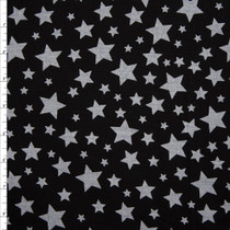 White Stars on Black Stretch Twill from 'Hudson Jeans' Fabric By The Yard