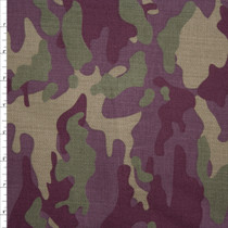 Olive and Plum Camouflage Stretch Twill from '7 for All Mankind' Fabric By The Yard