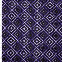 Purple, Black, and Lavender Diamond Print Stretch Twill from '7 for All Mankind' Fabric By The Yard