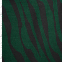 Black and Deep Emerald Green Brushstroke Zebra Print Stretch Twill from 'Hudson Jeans' Fabric By The Yard