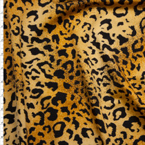 Black on Rich Tan Cheetah Print Nylon/Lycra Fabric By The Yard