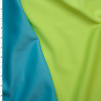 Neon Yellow and Bright Aqua Double Sided Scuba Knit Fabric By The Yard