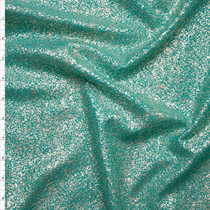 Light Metallic Gold on Aqua Stretch Liverpool Knit Fabric By The Yard