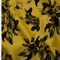 Black Flocked Roses on Mustard Scuba Knit Fabric By The Yard