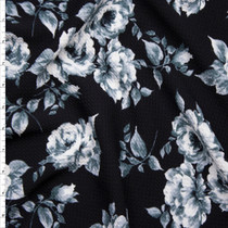 Greyscale Roses on Black Stretch Liverpool Print Fabric By The Yard