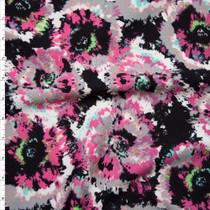 Hot Pink and Light Taupe Brushed Flowers on Black Liverpool Knit Fabric By The Yard