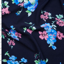 Light Blue and Pink Floral on Navy Blue Liverpool Knit Fabric By The Yard