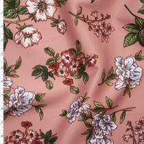 White, Pink, and Sage Flowers on Soft Coral Scuba Knit Fabric By The Yard