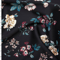 White, Emerald, and Magenta Flowers on Black Scuba Knit Fabric By The Yard