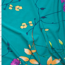 Hot Pink and Yellow Flowers and Branches on Turquoise Lightweight Poly Knit Fabric By The Yard