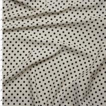 Black on Ivory Mini Polka Dot Stretch Nylon/Lycra Fabric By The Yard
