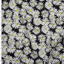 White and Yellow Daisies on Black Stretch Nylon/Lycra Fabric By The Yard