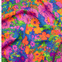 Neon Floral Stretch Nylon/Lycra Print Fabric By The Yard
