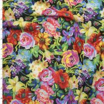 Vibrant English Garden Floral Stretch Nylon/Lycra Fabric By The Yard